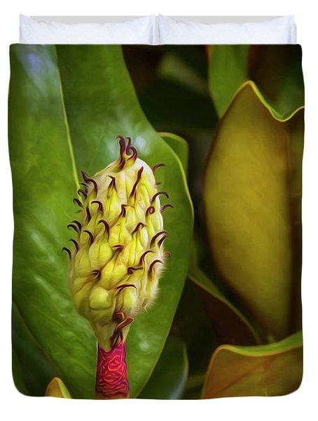 Stripped Magnolia  Duvet Cover
