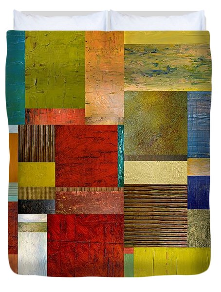 Strips And Pieces L Duvet Cover by Michelle Calkins