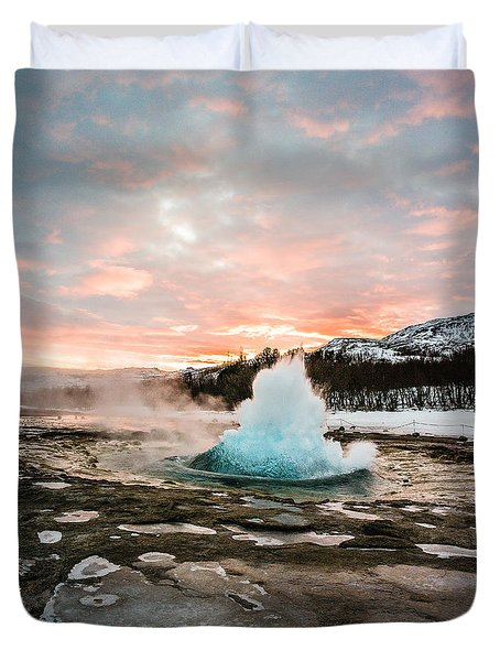 Strokkur Winter Blowup In Front Of Sunset Duvet Cover