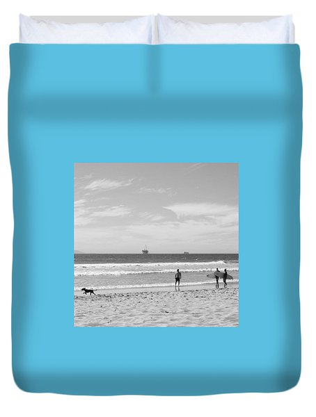 Strollin On Dog Beach Duvet Cover