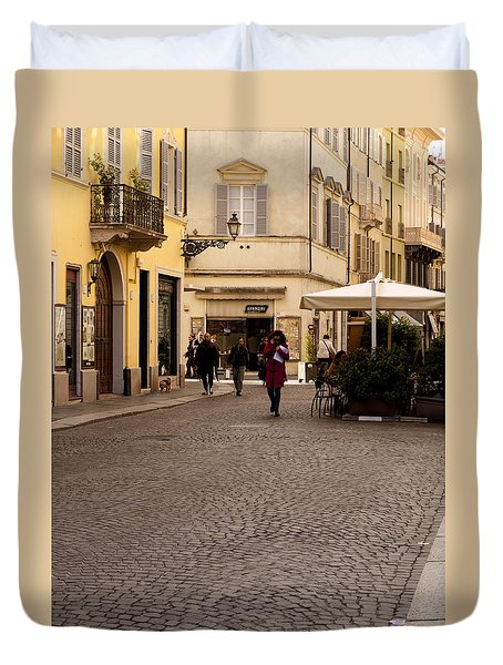 Strolling About Parma Duvet Cover by Rae Tucker