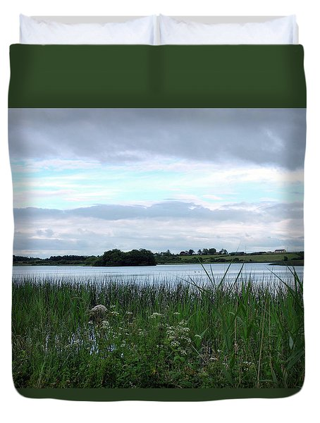 Duvet Cover featuring the photograph Strolling By The Lake by Terence Davis