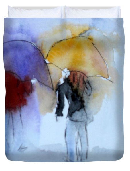 Strolling In The Rain Duvet Cover by Vicki  Housel