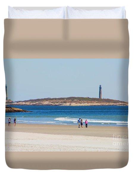 Strolling The Beach Duvet Cover