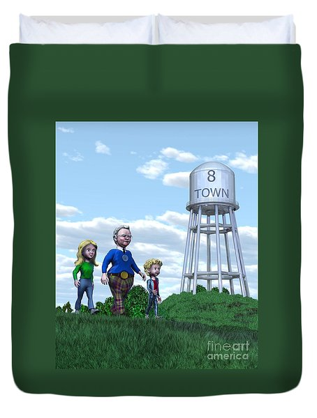 Duvet Cover featuring the painting Strolling Through 8 Town by Dave Luebbert