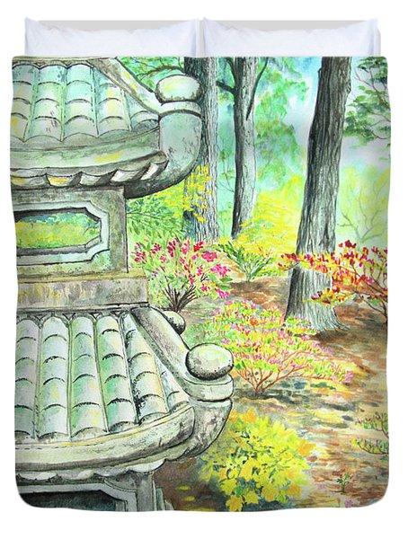 Strolling Through The Japanese Garden Duvet Cover