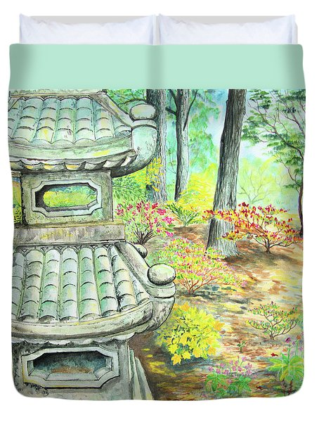 Strolling Through The Japanese Garden Duvet Cover