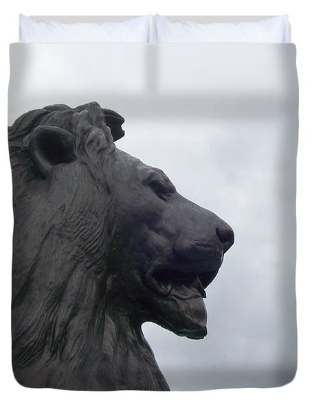 Duvet Cover featuring the photograph Strong Lion by Mary Mikawoz