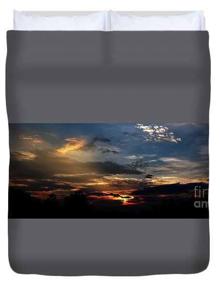 Struggling Sun Duvet Cover by James F Towne