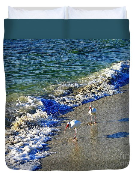 Duvet Cover featuring the photograph Strutting Shadows - White Ibis Strutting On The Beach by Shelia Kempf