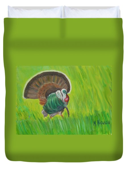 Strutting Turkey In The Grass Duvet Cover