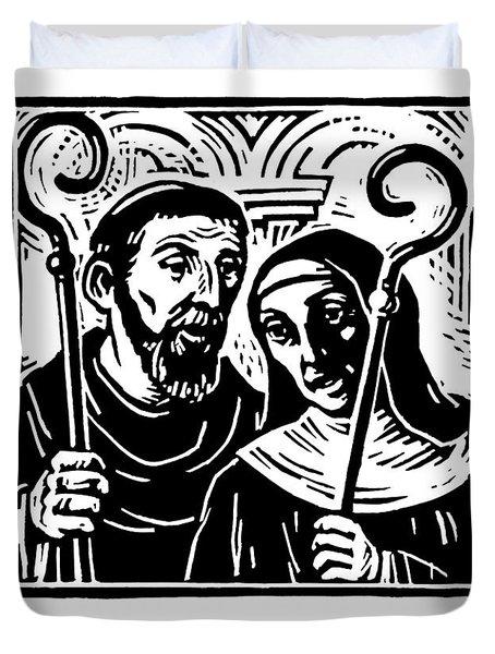 Sts. Benedict And Scholastica - Jlbas Duvet Cover