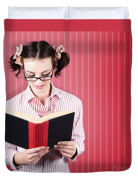 Student Reading Textbook While Learning With Study Duvet Cover