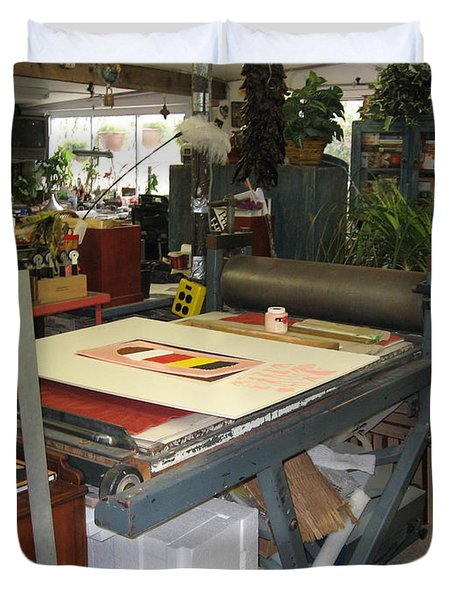 Duvet Cover featuring the mixed media Studio by Erika Chamberlin