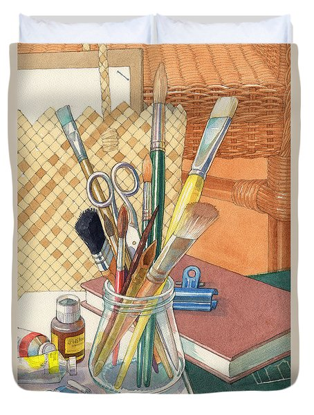 Duvet Cover featuring the painting Studio by Judith Kunzle