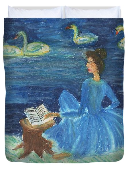 Study For Swan Lake Reader Duvet Cover by Sushila Burgess