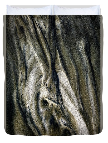 Duvet Cover featuring the photograph Study In Brown Abstract Sands by Rikk Flohr