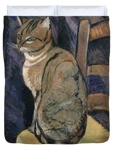Study Of A Cat Duvet Cover by Suzanne Valadon
