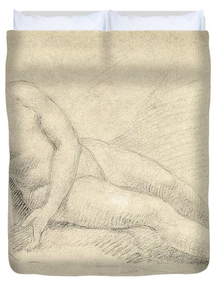 Study Of A Female Nude  Duvet Cover by William Hogarth