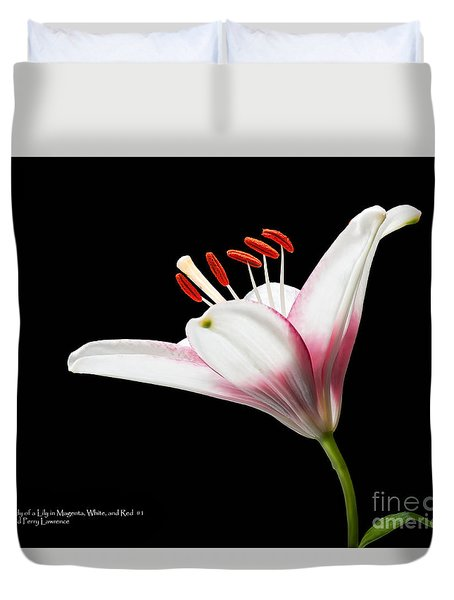 Duvet Cover featuring the photograph Study Of A Lily In Magenta, White, And Red #1 By Flower Photographer David Perry Lawrence And Red #2 by David Perry Lawrence