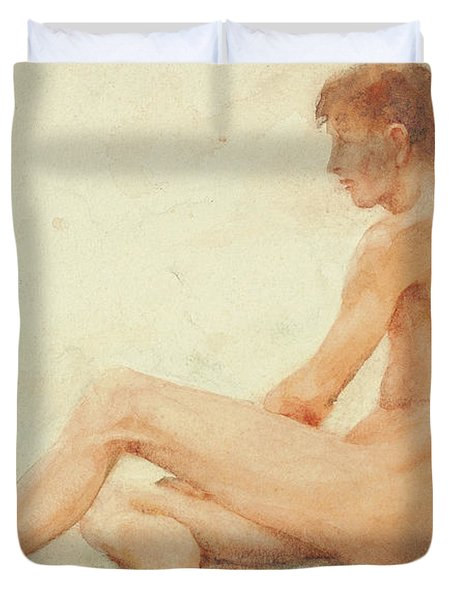 Study Of A Male Nude, Seated, Turning Away To The Right Duvet Cover
