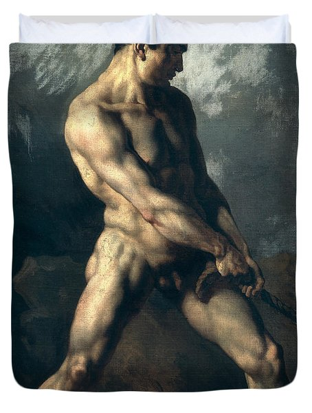 Study Of A Male Nude Duvet Cover by Theodore Gericault