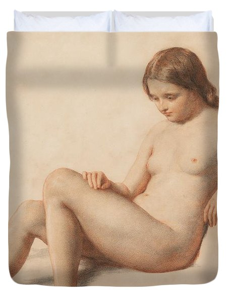 Study Of A Nude Duvet Cover by William Mulready