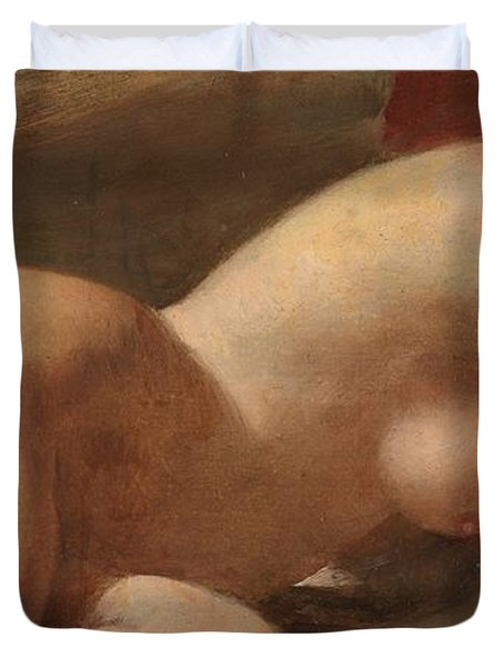 Study Of A Reclining Female Nude Duvet Cover by EW Wyon