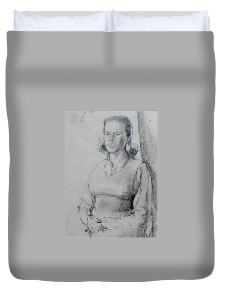 Study Of A Seated Girl. Duvet Cover by Harry Robertson
