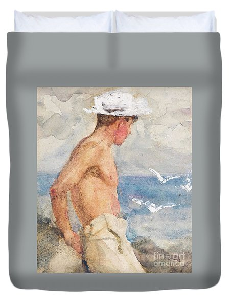 Study Of A Young Man Looking Out To Sea Duvet Cover