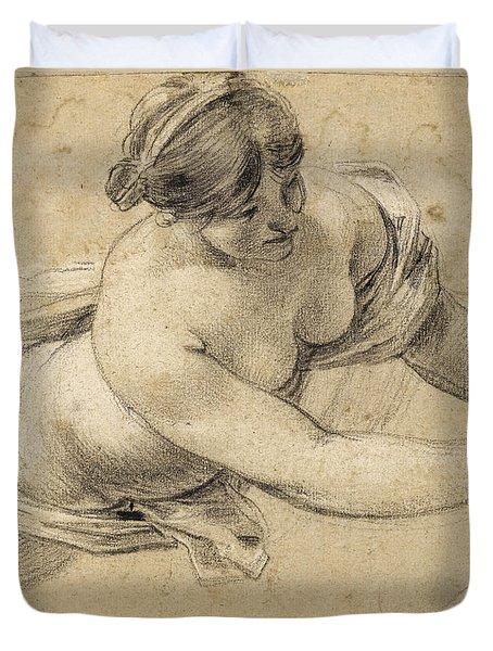 Study Of An Allegorical Female Figure In Flight Duvet Cover