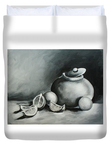 Study Of Lemons, Oranges And Covered Jug In Black And White Duvet Cover