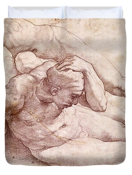 Study Of Three Male Figures Duvet Cover by Michelangelo
