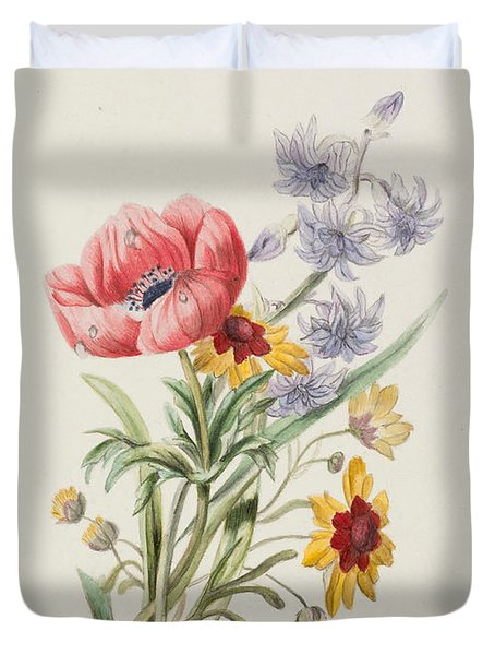 Study Of Wild Flowers Duvet Cover by English School