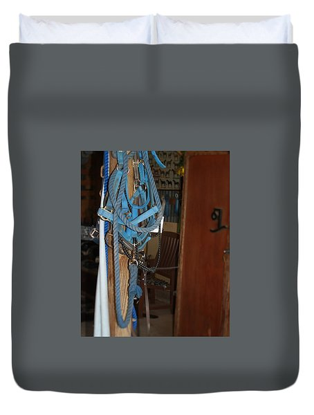Stuff In The Barn Duvet Cover by Roena King