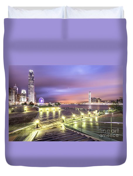 Stunning Night View Of The Famous Hong Kong Island Skyline And V Duvet Cover