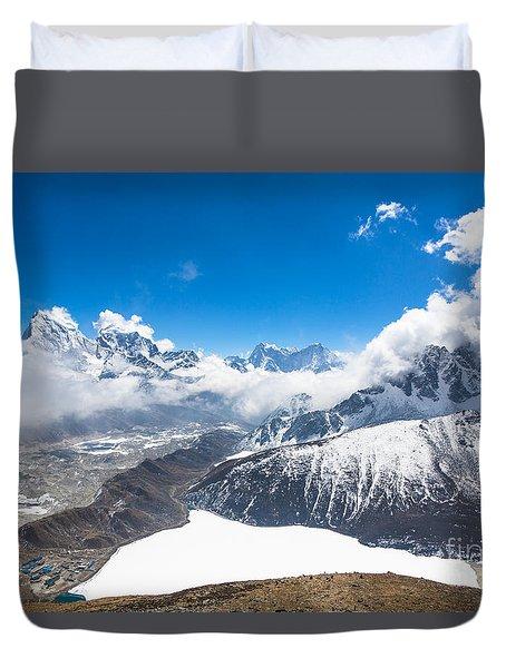 Stunning Panorama Over Gokyo In Nepal Duvet Cover