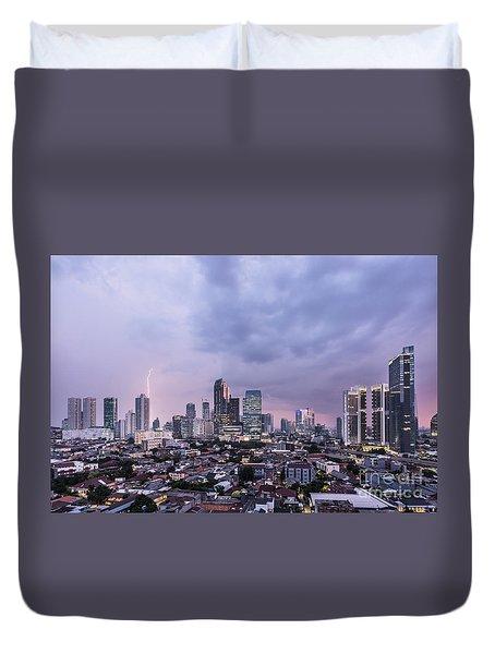 Stunning Sunset Over Jakarta, Indonesia Capital City Duvet Cover