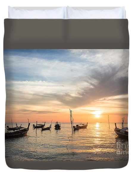 Stunning Sunset Over Wooden Boats In Koh Lanta In Thailand Duvet Cover