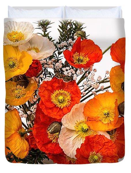 Stunning Vibrant Yellow Orange Poppies  Duvet Cover
