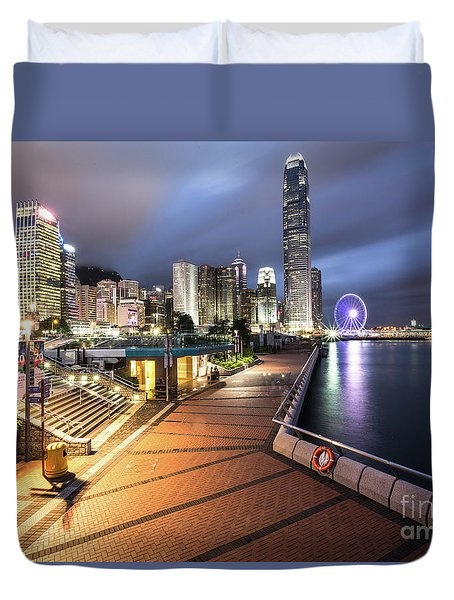 Stunning View Of Hong Kong Central Business District Skyscrapers Duvet Cover