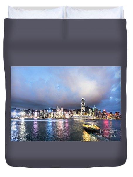 Stunning View Of Hong Kong Island At Night.  Duvet Cover