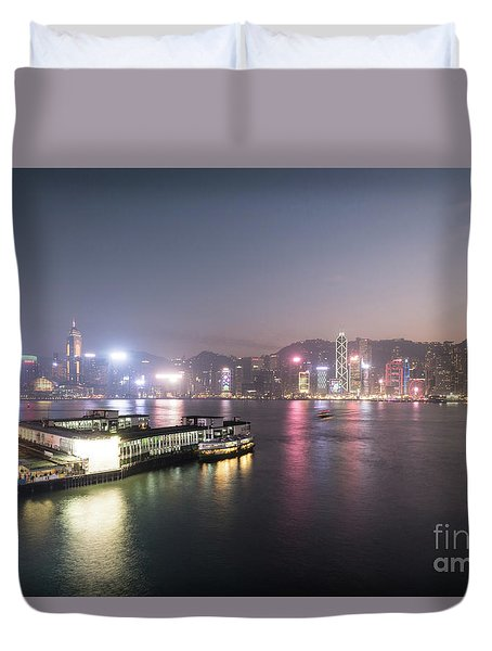 Stunning View Of The Twilight Over The Victoria Harbor And Star  Duvet Cover