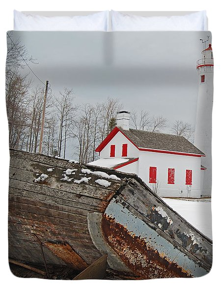 Sturgeon Point Lighthouse Duvet Cover by Michael Peychich