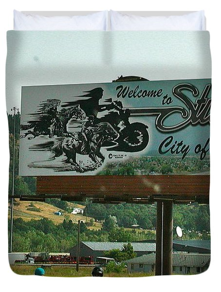 Sturgis City Of Riders Duvet Cover by Anna Ruzsan