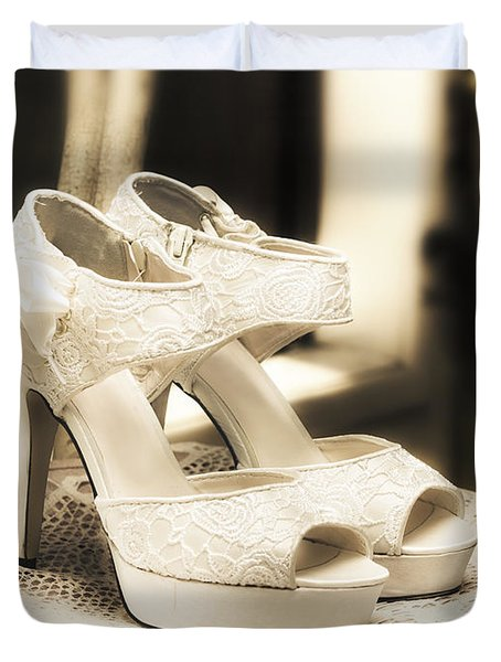 Stylish And Elegant Bridal Shoes Duvet Cover