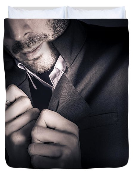 Stylish Man Wearing Mens Fashion Accessories  Duvet Cover