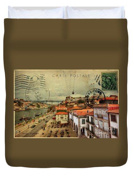 stylish retro postcard of Porto Duvet Cover