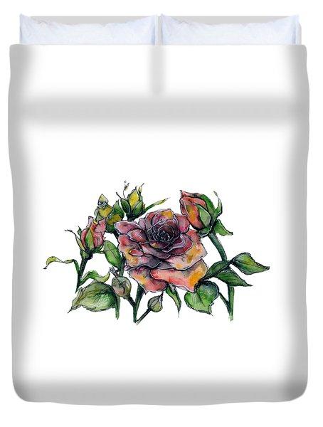 Stylized Roses Duvet Cover