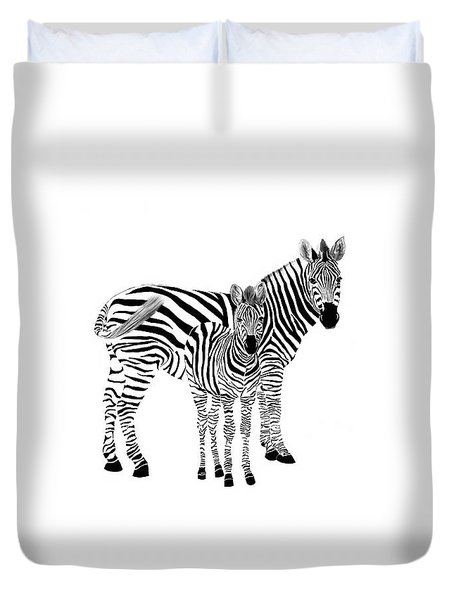 Stylized Zebra With Child Duvet Cover